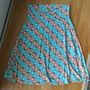 Medium LuLaRoe teal and orange Azure skirt